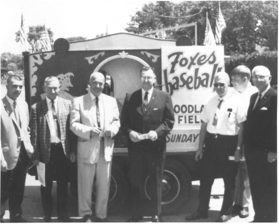 Left to right: Ed Holtz, Business Manager of the Appleton Club; Ed Rosenthal, Business Manager – Wisconsin Rapids; Ray Burchell, President of Wisconsin Rapids Club; Jim Doster, President of Midwest League; Fritz Colschen, General Manager Clinton Club; Jim Choudoir, Appleton Director; and Walter Wagner, Vice President of League.