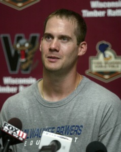 Dave Bush after his July 10, 2009 rehabilitation appearance with the Timber Rattlers.