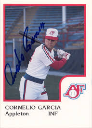 Cornelio Garcia's baseball card with the 1986 Appleton Foxes.