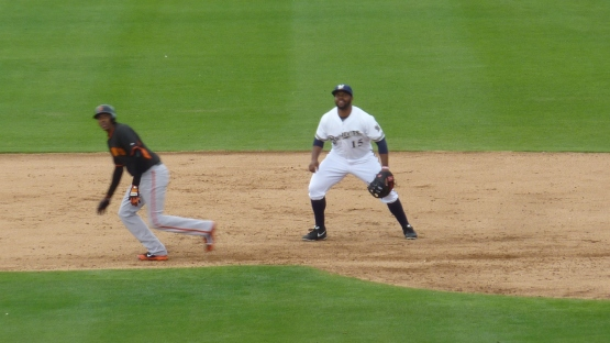 Jason Rogers got in the game to play first base.