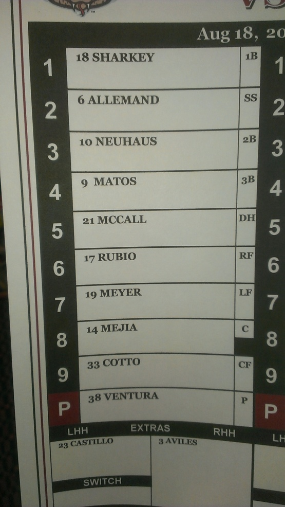 August 19 Game 1 Lineup