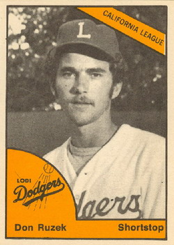 Don Ruzek played eight games with the Foxes in 1983. This card is from the Lodi (CA) Dodgers.