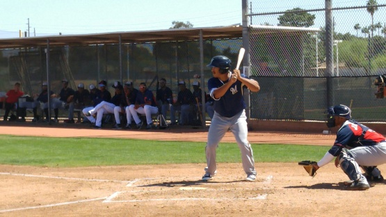 Trent Clark at bat on Sunday afternoon.
